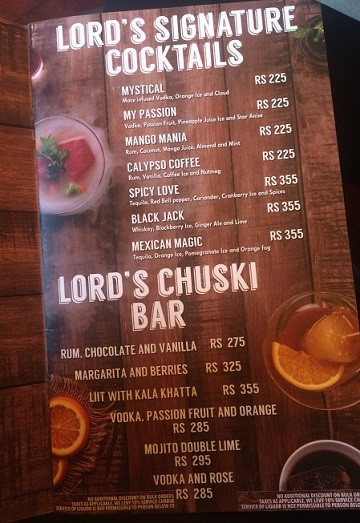 Lord of Drinks nehru Place menu
